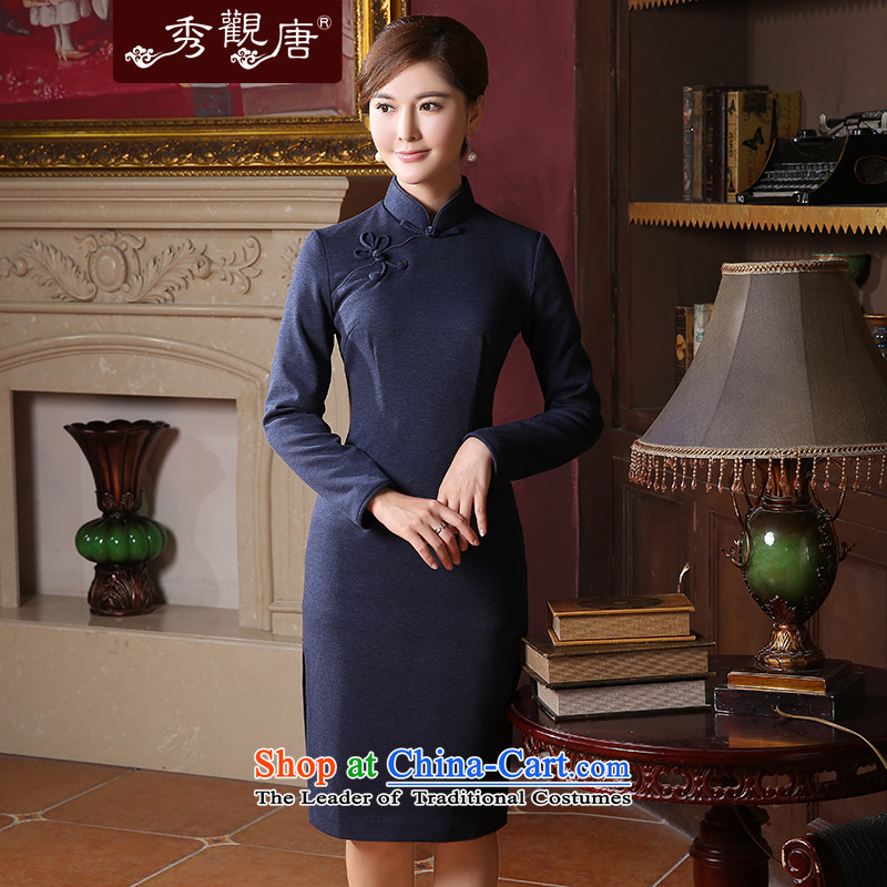 [Sau Kwun Tong Ching Yi] 2015 Fall/Winter Collections of new long-sleeved qipao retro look in pure color long QC41033 blue?S