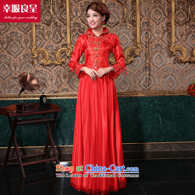 The privilege of serving-leung 2015 new autumn and winter red Chinese bride wedding dress wedding dress long-sleeved qipao bows services for long winter�7XL dress