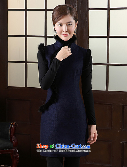 [Sau Kwun Tong] Blue Ngan winter clothing gross?聽2015 new qipao rabbit hair for improved cheongsam dress QW41032 retro-blue聽XXL picture, prices, brand platters! The elections are supplied in the national character of distribution, so action, buy now enjoy more preferential! As soon as possible.