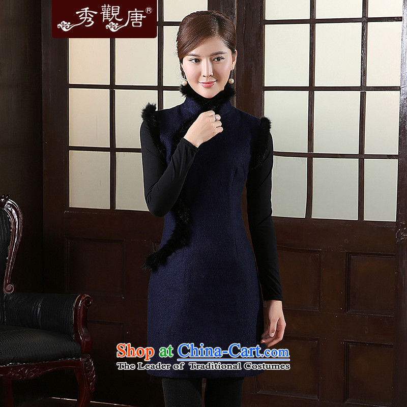 [Sau Kwun Tong] Blue Ngan winter clothing gross??2015 new qipao rabbit hair for improved cheongsam dress QW41032 retro-blue?XXL