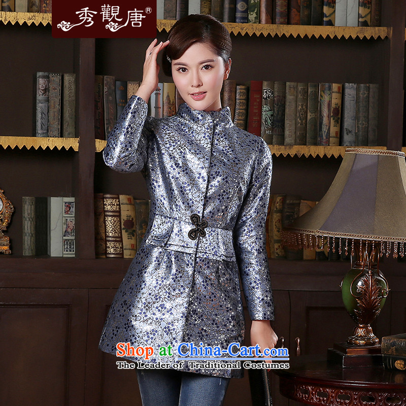 -Sau Kwun Tong- birds spirit for autumn and winter 2014 new coat temperament Sau San Chinese improved Tang jackets TC41016 blue and gray聽XL