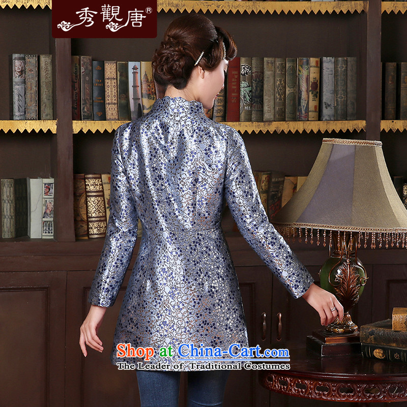 [Sau Kwun Tong] birds spirit for autumn and winter 2014 new coat temperament Sau San Chinese improved Tang jackets TC41016 blue and gray聽XL, Sau Kwun Tong shopping on the Internet has been pressed.