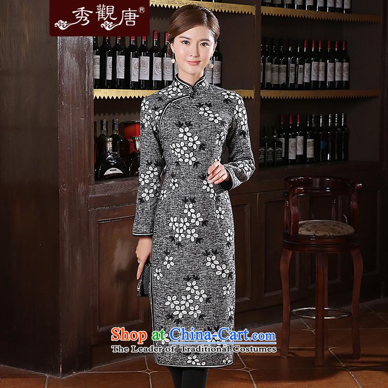 [Sau Kwun Tong] Xue Ying long thick qipao winter 2014 new long-sleeved cheongsam dress QC41028 retro pale?XXL