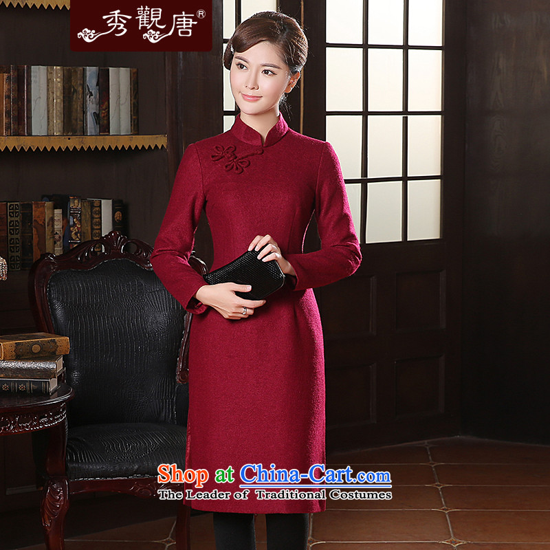 -Sau Kwun Tong- incense Selina Chow winter clothing new long-sleeved qipao聽2014 autumn and winter in long skirt QC41025 retro qipao chestnut horses聽XL