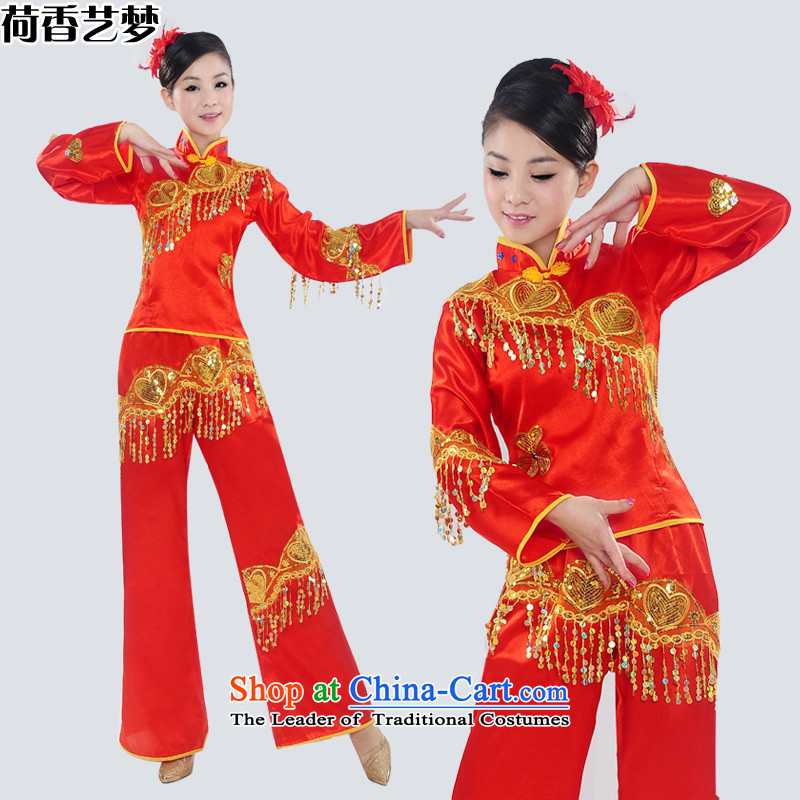 I should be grateful if you would have the Champs Elysees arts dreams 2015 new yangko clothing will yangko magua Janggu dancing wearing national costumes HXYM0026 female picture color?S