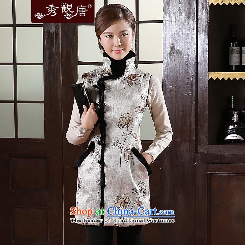 -Sau Kwun Tong- rain mei 2015 Fall_Winter Collections Ms. Tang Dynasty Chinese folder folder of the cotton wool collar vest TW41003 Kim color燲XL