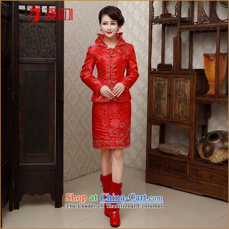 At the beginning of the New Year 2015 diffuse bride qipao retro bows cheongsam dress Sau San winter thick winter of Qipao video thin warm winter cheongsam RED�M