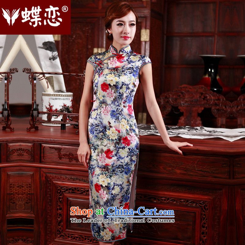 The Butterfly Lovers 2015 Summer new heavyweight Silk Cheongsam long improved stylish skirt 47003 Sau San qipao?XXXL Figure