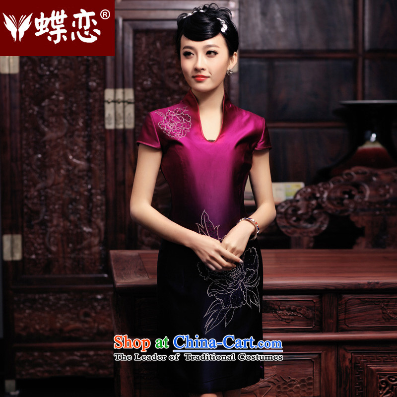 The Butterfly Lovers 2015 Summer new daily improved retro hand made embroidered ironing drill heavyweight Silk Cheongsam 49129 improved mauve?L