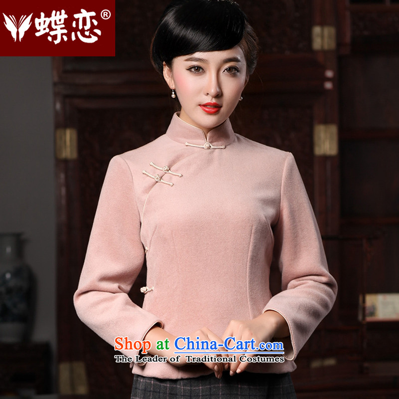 Butterfly Lovers 2015 Autumn new stylish improvement, Tang blouses wool? long-sleeved T-shirt 49138 Ms. qipao figure?XL
