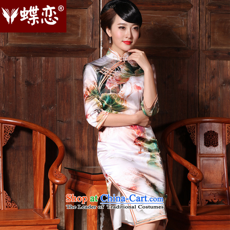 Butterfly Lovers 2015 Autumn new stylish improved long length of Foday Sankoh silk cheongsam dress in the retro cuff qipao 49135 figure燣