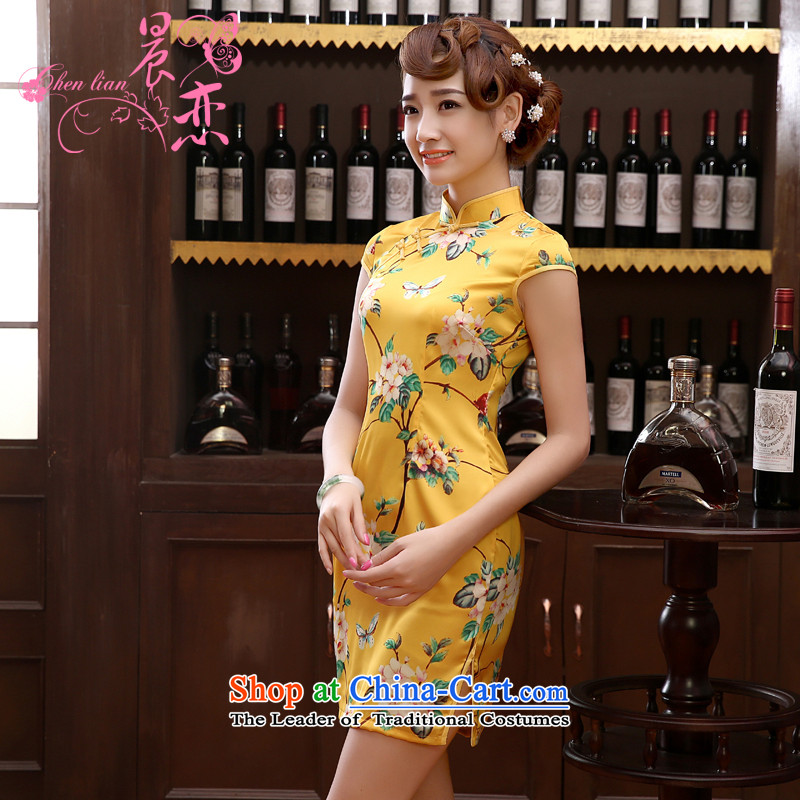 Morning new qipao Land summer short of improvement and Stylish retro herbs extract silk cheongsam dress Chinese yellow yellow燲XL
