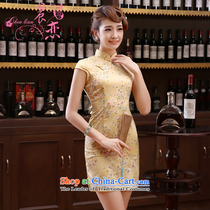 Morning new qipao Land summer short of improvement and Stylish retro herbs extract silk cheongsam dress little Chinese flowers pale yellow燤