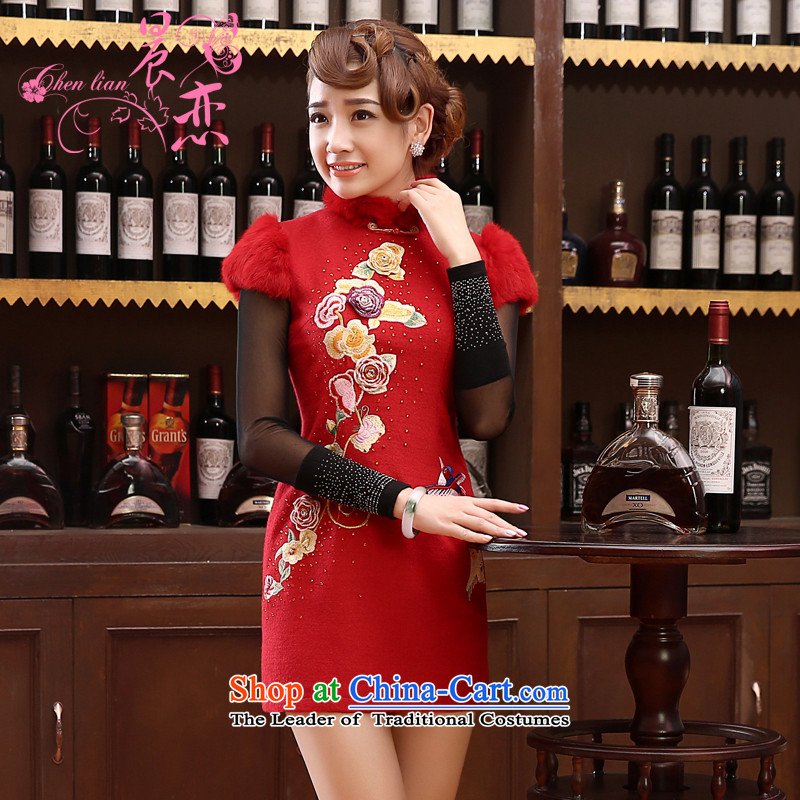 Morning Land 2014 load autumn and winter married bride improved qipao wool bows Chinese long-sleeved gown skirt chinese red red?XXL