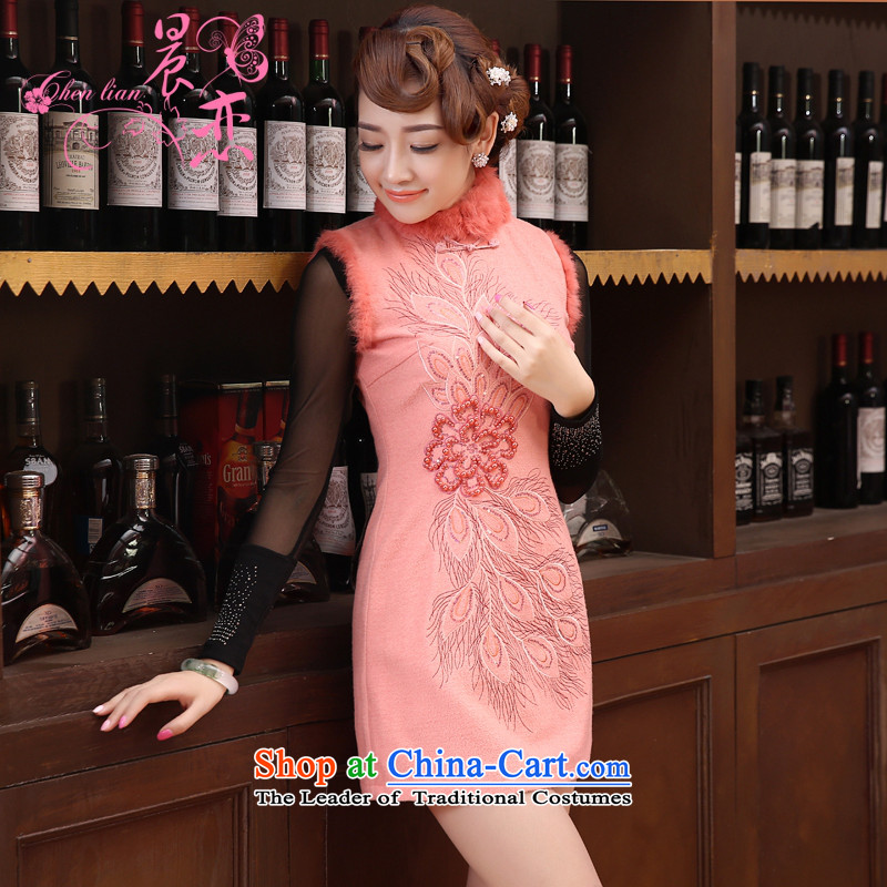 Land?2014 New Morning autumn and winter qipao Stylish retro cheongsam dress daily improved annual wool skirt short, Red??155/S