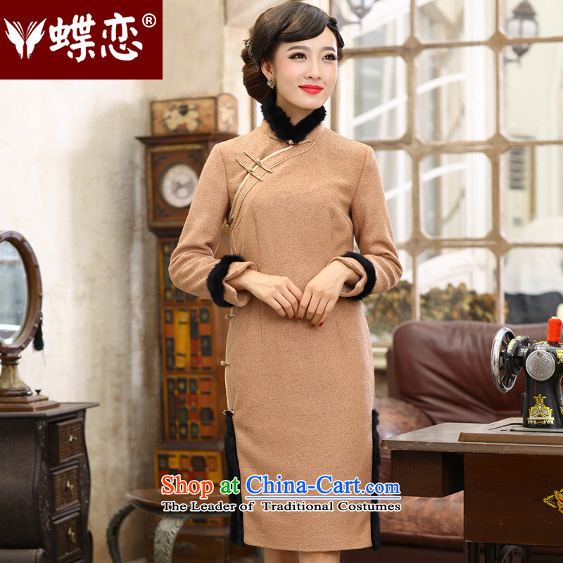 The Butterfly Lovers autumn 2015 new stylish improved wool cheongsam dress retro long-sleeved daily? 49140 qipao gross figure?XXL