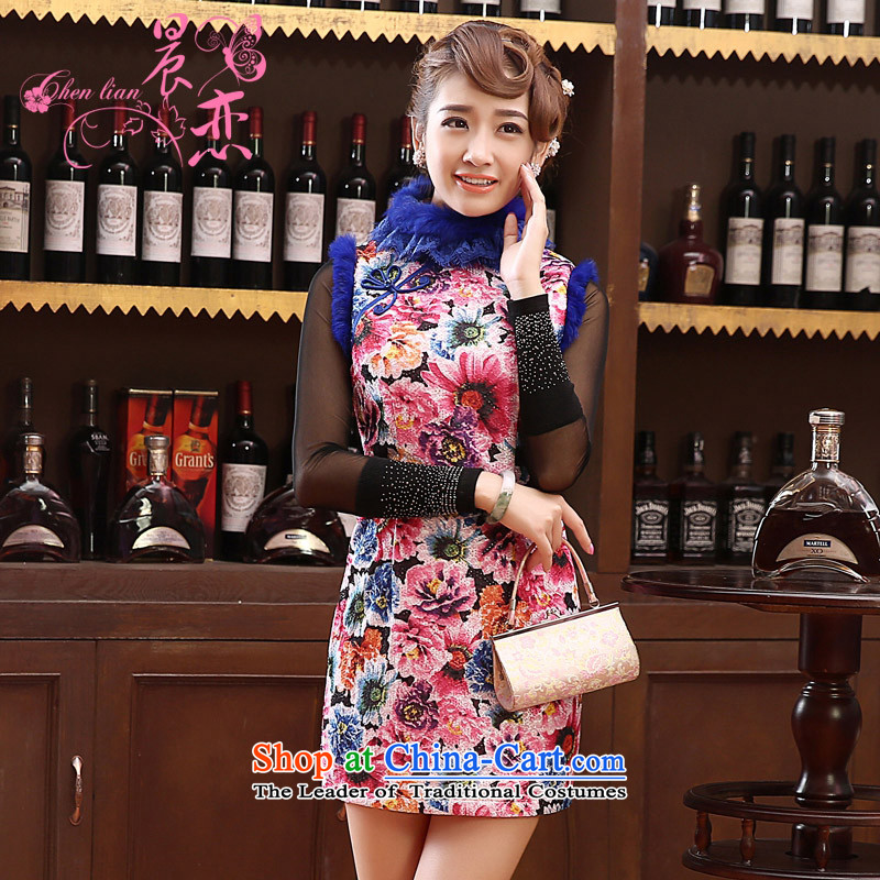 Land?2014 New Morning autumn and winter qipao Stylish retro folder daily improved cheongsam dress cotton rabbit hair collar short of purple?M