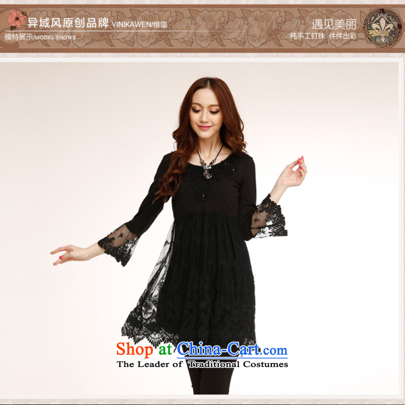 Counters genuine autumn 2014 new stylish look elegant embroidery improvements Sau San lace temperament with 7 Cuff CHIU Sau San video thin black skirt?S