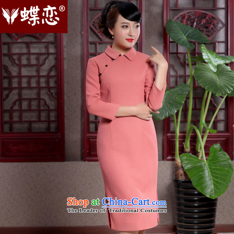 The Butterfly Lovers Spring 2015 New Daily Sau San long skirt improved stylish pearl detained qipao 49107 orange?XL