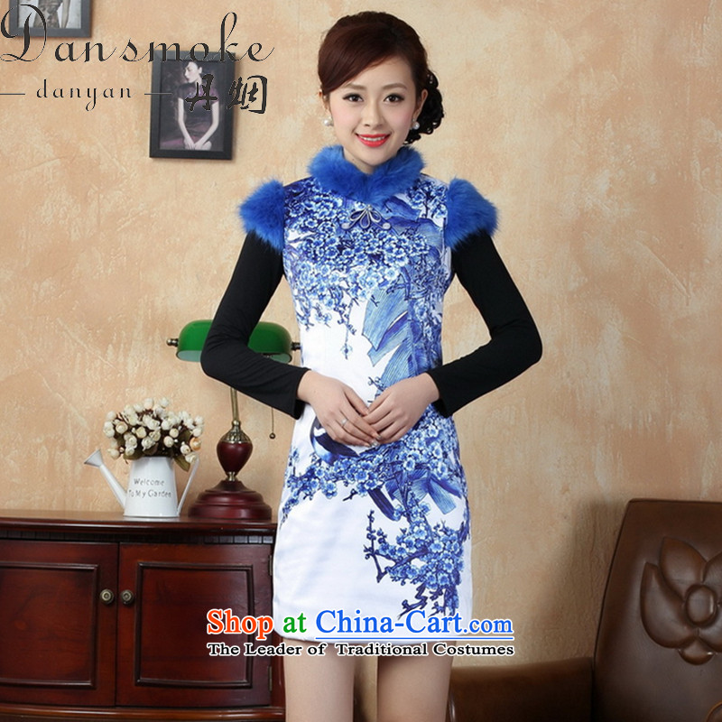 Dan smoke winter cheongsam dress new Tang dynasty collar for Chinese improved damask gross cotton short qipao performance plus dress blue on white flower?XL