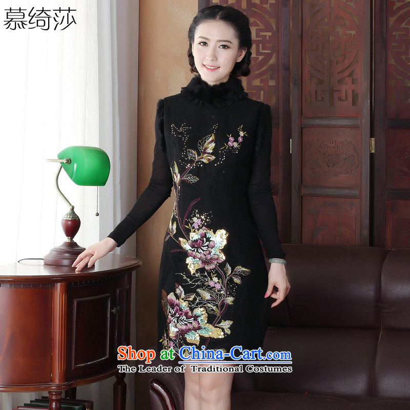 The cross-sa water Sable Hair for 2015 New winter clothing retro style qipao thick a Embroidery Apron new vest qipao?Y3165D XL