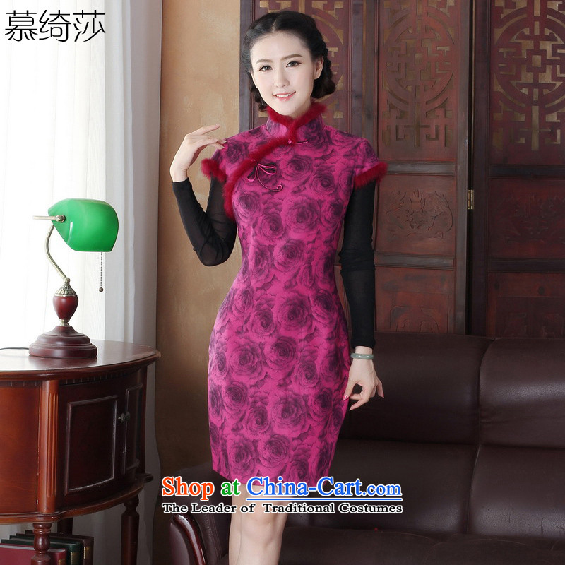 The cross-sa momiji�15 Fall_Winter Collections improved cheongsam dress robe stylish new thick hair for warm cotton robes爕2051 folder M