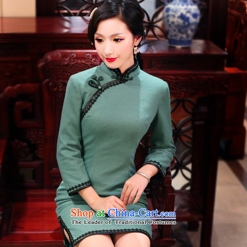 After a day of wind?spring 2015 new republic of korea retro female qipao improved day-to-day long-sleeved cheongsam dress 4102 4102 Green?M