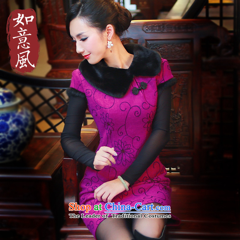 New Women's dresses warm winter clothing short stylish upmarket wool so Sau San embroidery cheongsam dress 3103 3103 Deep Violet燲L