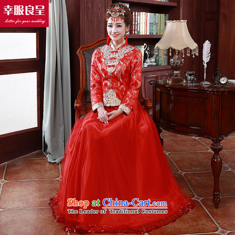 The privilege of serving-leung 2015 Fall/Winter Collections new bride wedding dress Chinese wedding dress long-sleeved qipao skirt bows Services folder, cotton winter M