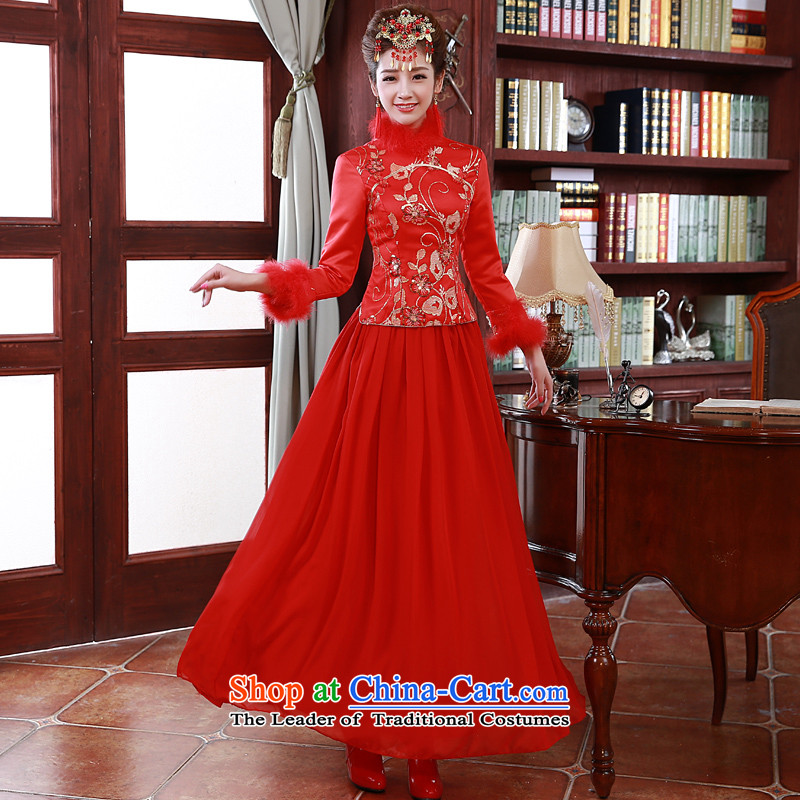The privilege of serving-leung 2015 Fall_Winter Collections new bride bows service wedding dress Chinese long-sleeved plus cotton cheongsam Red�L
