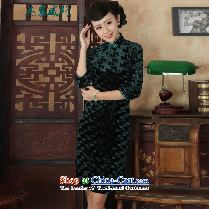 In the new kit, Tang dynasty ethnic Mock-neck manually detained women's gold velour Sau San cheongsam dress green燲L