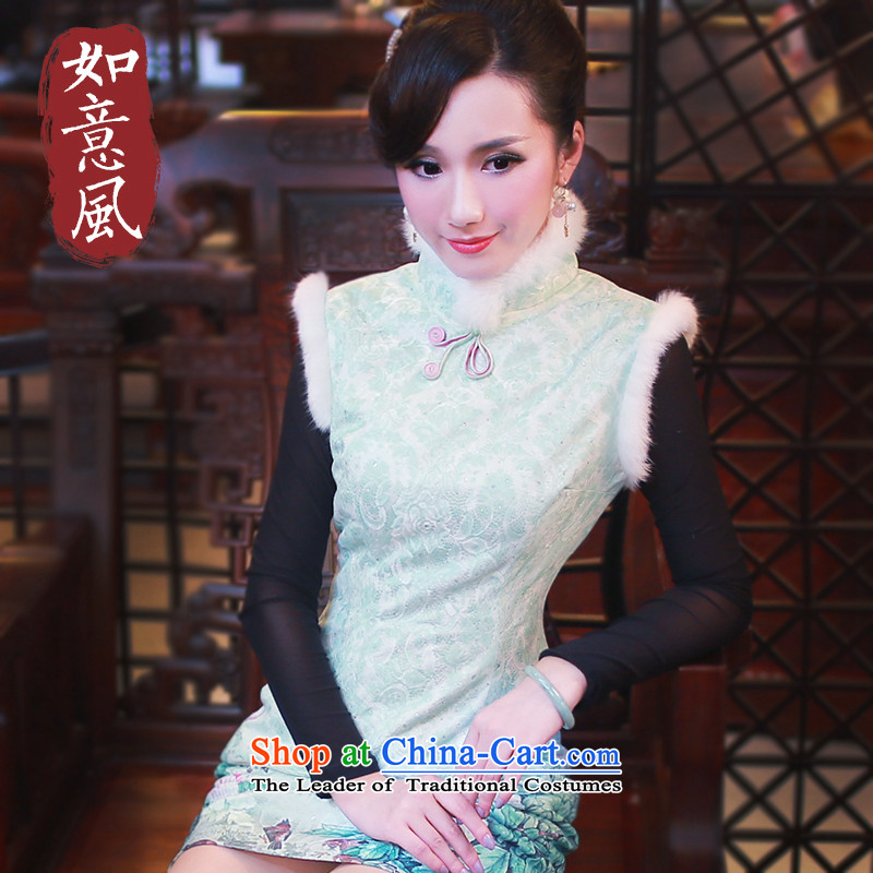 After the�14 winter wind female new Stylish retro improved day-to-gross for cheongsam dress 4813th 4813th green燲XL