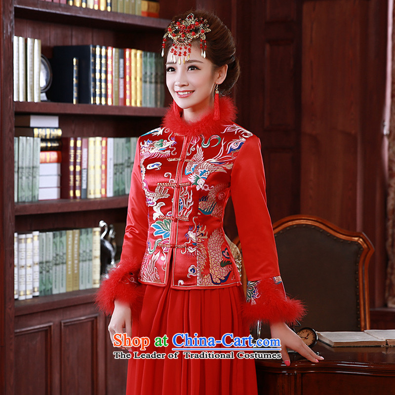 The privilege of serving-leung 2015 Fall_Winter Collections new bride wedding dress long-sleeved clothing qipao toasting champagne chinese red?M