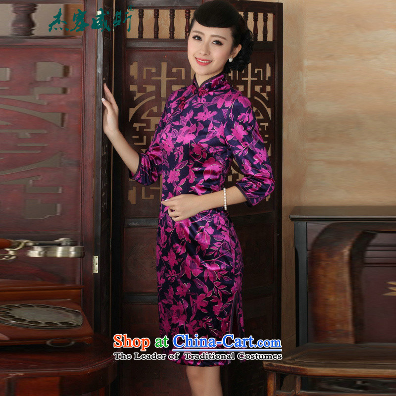 In the new kit, ethnic women Kim scouring pads Mock-neck manually detained Sau San cheongsam dress purple?M