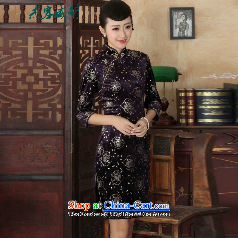 In the new Jie Tang dynasty, ethnic women's Mock-neck manually detained seven gold velour robes Cuff   dresses燲XXL Figure