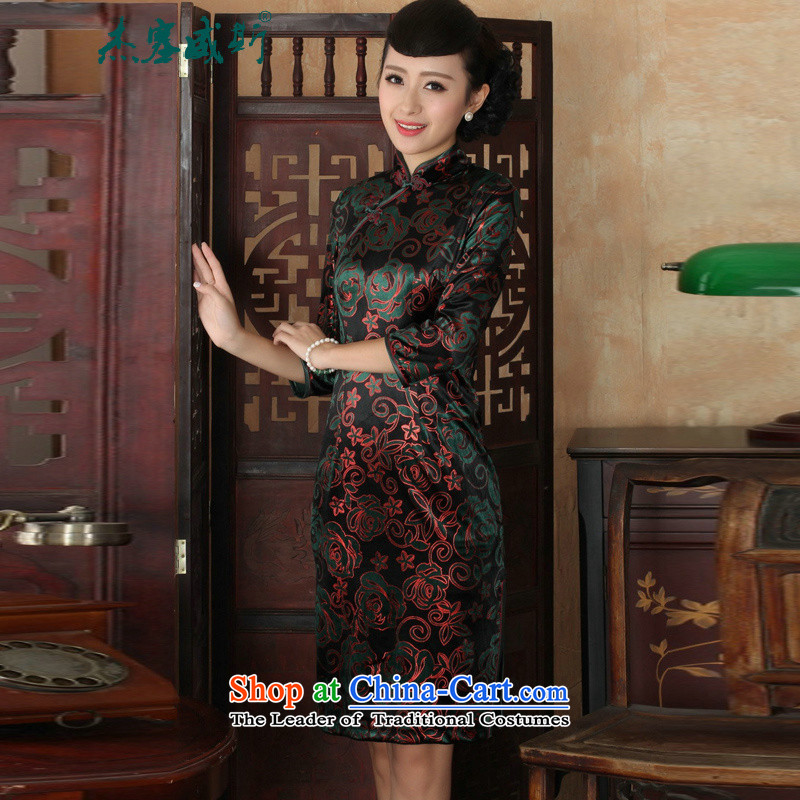 In the new Jie Tang dynasty, ethnic women's Mock-neck manually detained Kim scouring pads Sau San cheongsam dress figure聽XXL