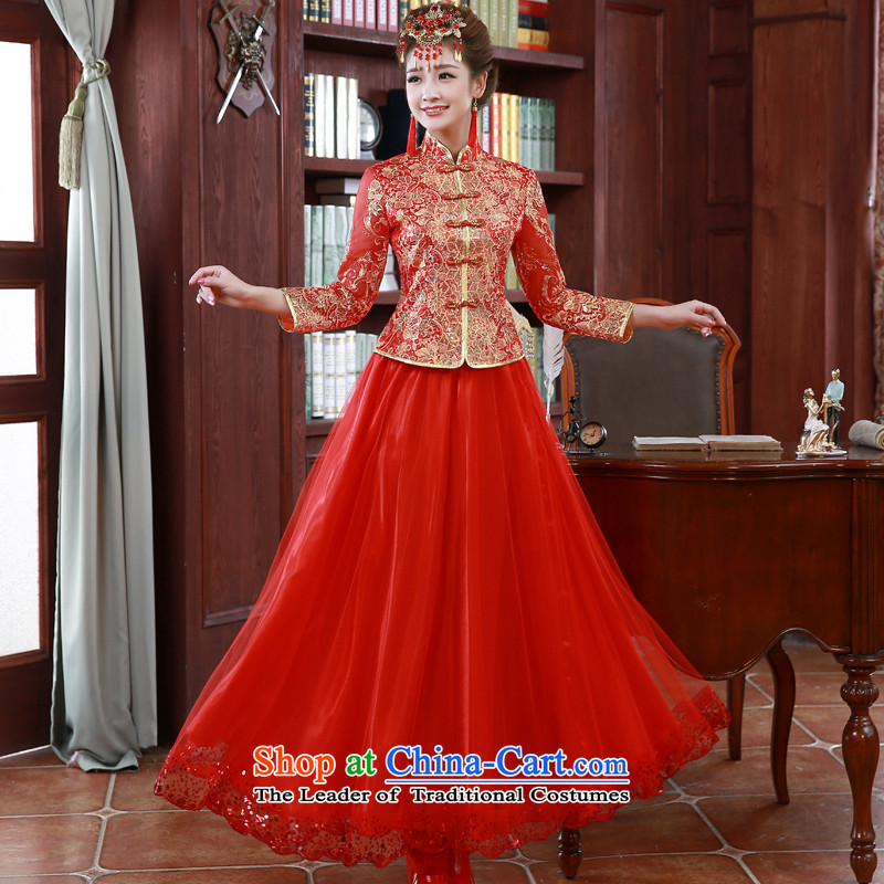 The privilege of serving-leung 2015 New Red Chinese wedding dress bows service long-sleeved qipao Fall_Winter Collections bride red?S