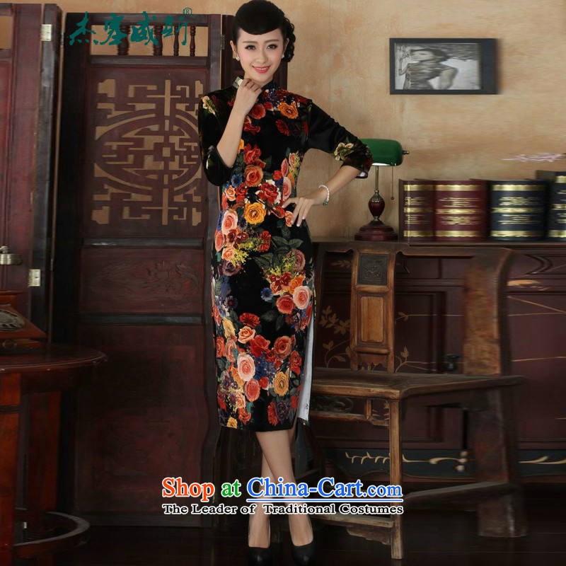 In the new kit sleek Mock-neck manually detained Sau San Stretch Wool Poster Classic Kim cheongsam dress female figure�M