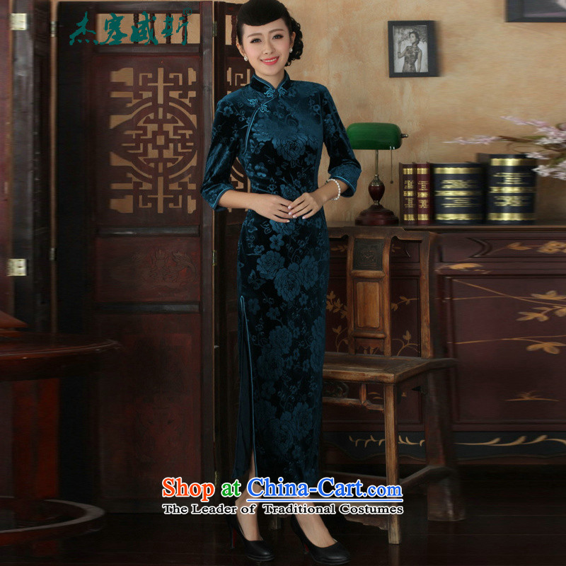 In the new kit, Solid Color Chinese elastic Kim long wool collar manually Tang Dynasty Sau San qipao detained dresses Blue?M