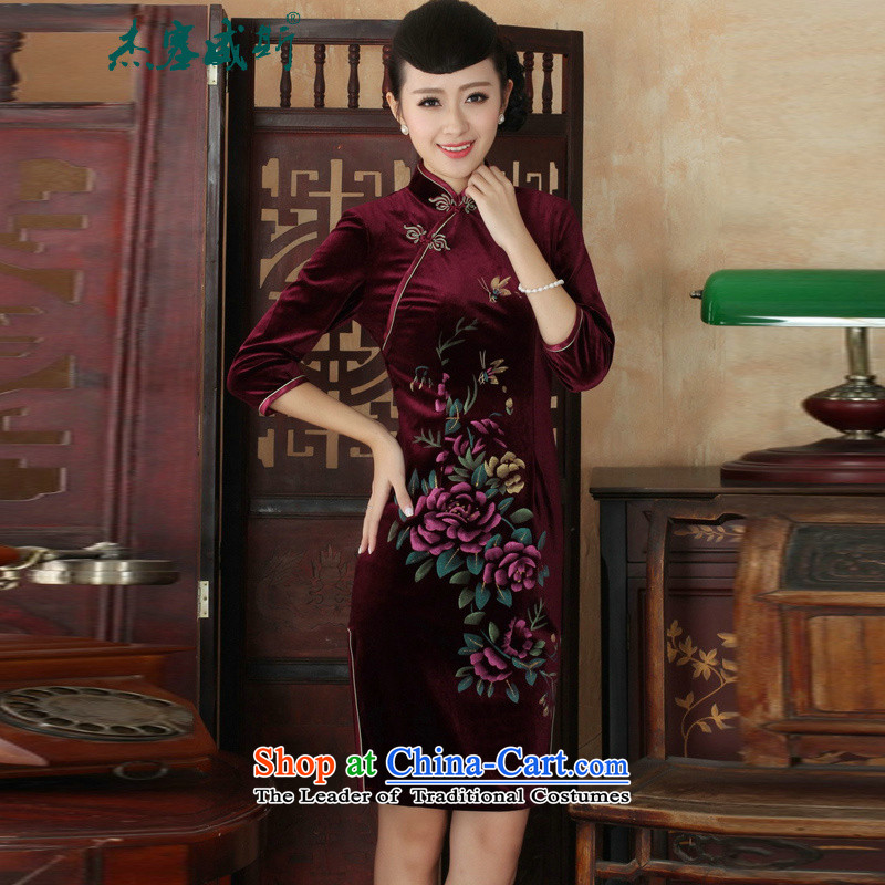 In the new kit, hand-painted flowers Chinese Stretch Wool collar manually really tray clip Tang Gown cheongsam dress燲XXL wine red
