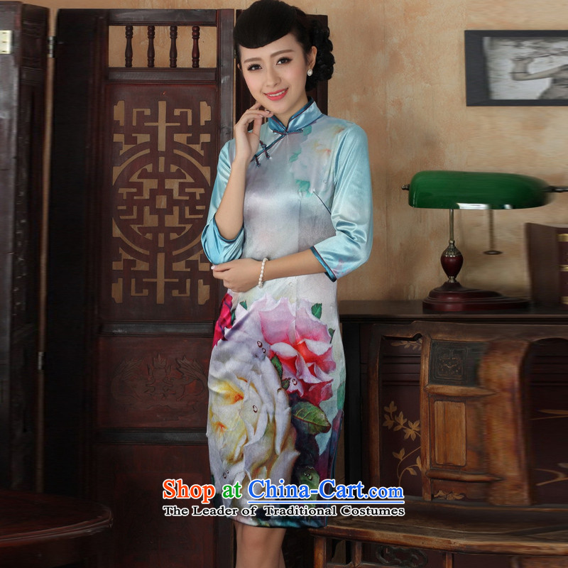 In the new kit, an elegant and women's gold velour collar manually disc detained Sau San Tong replacing cheongsam dress female figure聽S