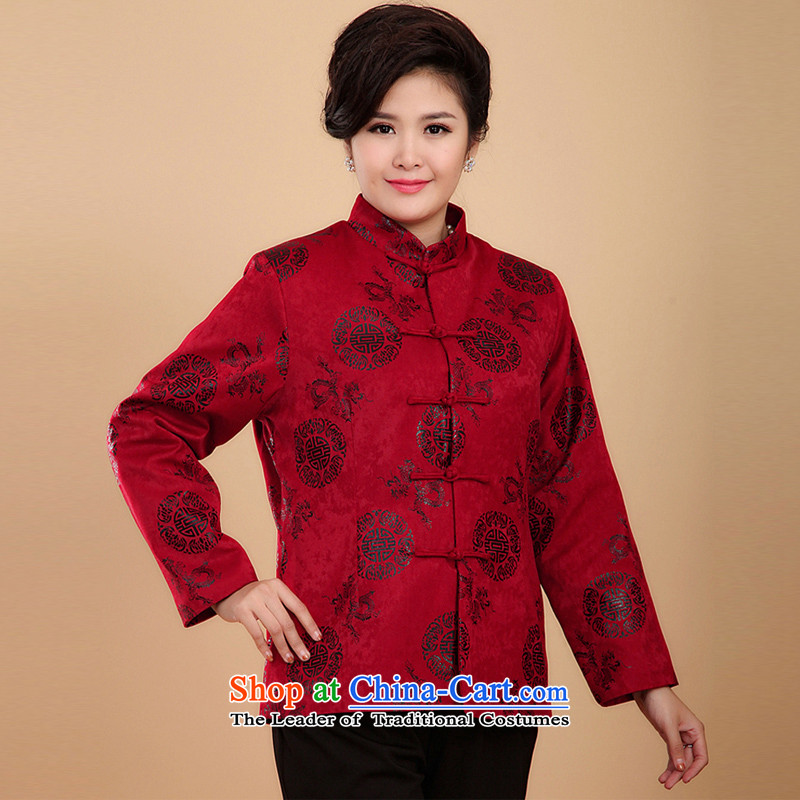 The Cave of the elderly聽15 autumn and winter in the new age-Hi Tang Dynasty Ms. field 茫镁貌芒 mother Tang dynasty cotton coat N0123 Red聽4XL