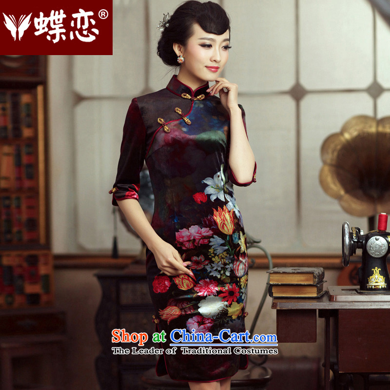 Butterfly Lovers 2015 autumn in new, improved cuff and stylish qipao cheongsam dress daily slimming velour robes 47004 figure - 10 days pre-sale L
