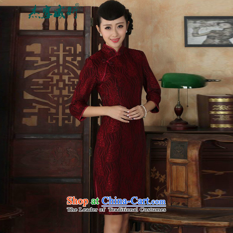 In the new kit, ethnic women lace gold velour collar manually disc detained Sau San Tong replacing cheongsam dress female figure聽XXL