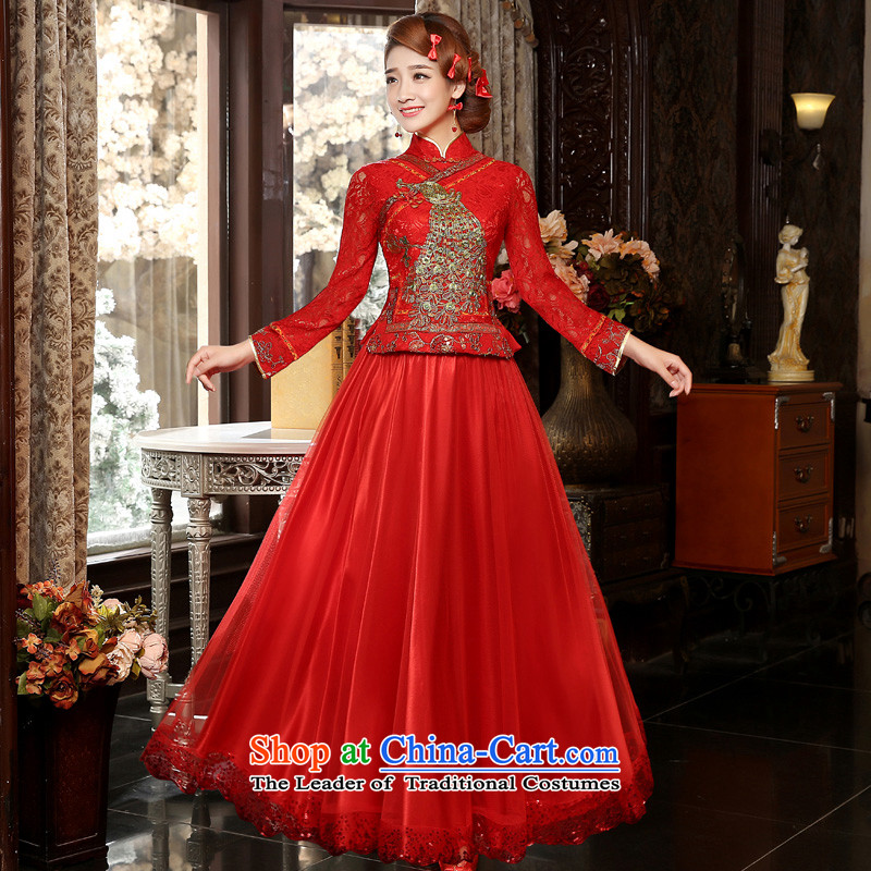 The privilege of serving-leung 2015 new bride red autumn wedding dress bows serving traditional feel long long-sleeved QIPAO_�L