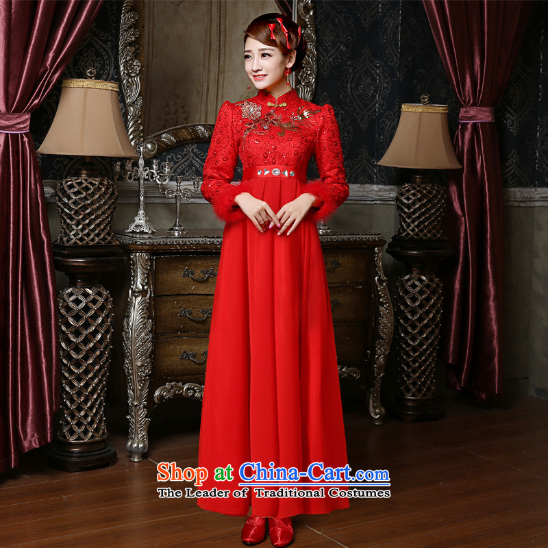 2015 new bride of autumn and winter load wedding dress red bows to thick MM high waist pregnant women, dress qipao winter?S