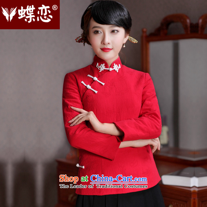 Butterfly Lovers�15 Autumn new long-sleeved short, cotton, improved long-sleeved shirt qipao Tang dynasty shining red燲L