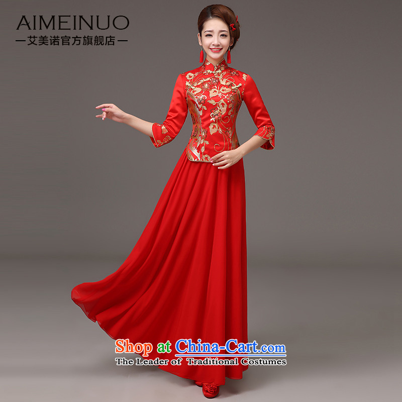 The HIV qipao 2015 Spring_ long marriages red bows services retro lace on Chinese cheongsam dress燪0036 slice爎ed燣