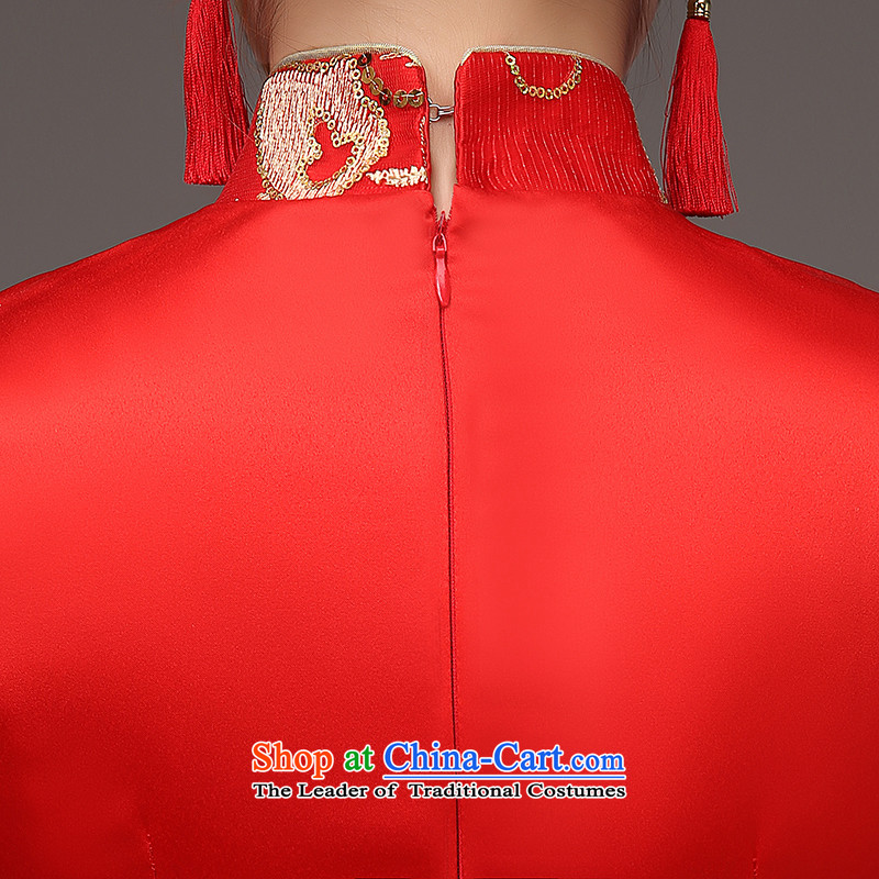 The HIV qipao 2015 Spring) long marriages red bows services retro lace on Chinese cheongsam dress Q0036 slice red , L, HIV Miele shopping on the Internet has been pressed.