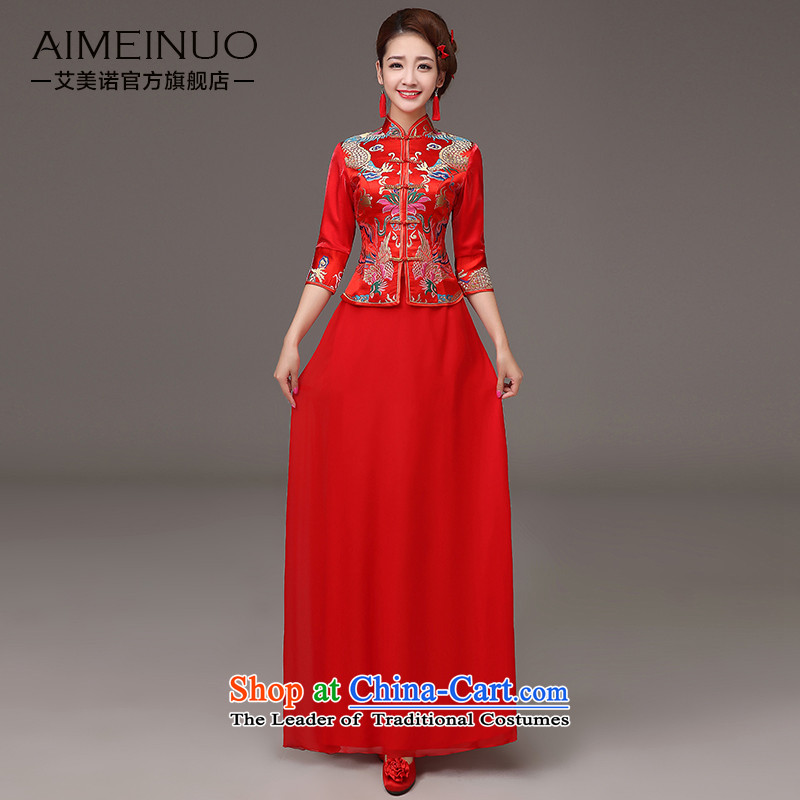 The HIV qipao 2015 Spring, marriages red bows to the dragon embroidery cheongsam services 7 Cuff Chinese Dress燪0037 retro XXL